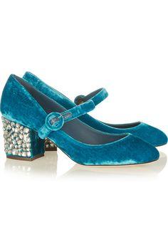 0ba29aa08229 Vally crystal-embellished velvet pumps Dolce And Gabbana Blue