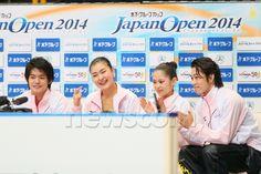 (L-R) Takahiko Kozuka, Kanako Murakami, Satoko Miyahara, Takahito Mura (JPN), OCTOBER 4, 2014 - Figure Skating : Japan Open 2014 at Saitama Super Arena, Saitama, Japan. (Photo by Yohei Osada/AFLO SPORT) (512×341)