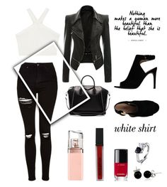 """Favorite White Shirt"" by christine-kei ❤ liked on Polyvore featuring BCBGMAXAZRIA, Topshop, Givenchy, Smashbox, HUGO, Chanel, Tory Burch, Bling Jewelry and WardrobeStaples"