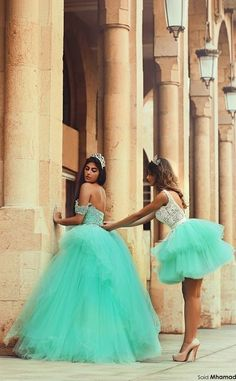 Mint Green layered Ball Gown Quinceanera Dresses Short and Long Backless Party Dresses