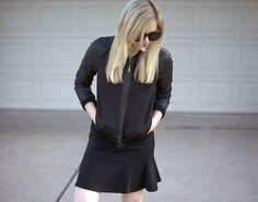 bomber jacket and flared skirt