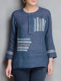 0309d6a90c8dc4 Buy Indigo Patchwork Linen Tunic Online at Jaypore.com Simple Blouse  Pattern