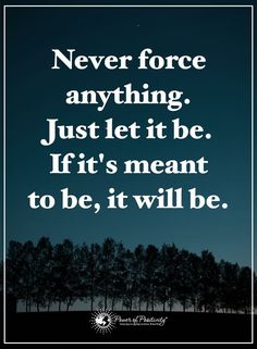 No longer forcing anything, even if I want to... what will be will be and its in letting go it will be so