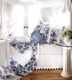 Blue and white bedroom .. Splendid Sass