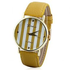$5.05 Colorful Stripes Leisure Watch with Round Dial and PU Leather Watch Band for Women