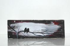 Rustic Wood Signs Reclaimed Wood Art Love Birds Paintings by LindaFehlenGallery