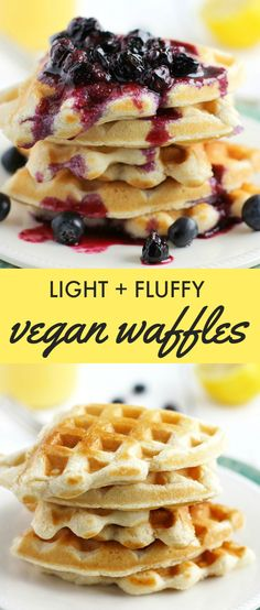 Recipe for light and fluffy vegan waffles with blueberry sauce. Posted on theprettybee.com by Kelly.