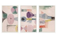 Paul Klee, Abstract in Pastels Triptych