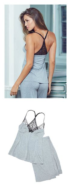 Gray pajama shirt and pant set from Adore Me Lingerie