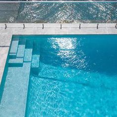 Photos of Swimming Pools fully tiled in Glass Mosaics - White Crystal Pearl Glass Pool Tile, Concrete Pool, Glass Mosaic Tiles, Pool Tiles, Deck Colors, Pool Colors, Pool Tile Company, Garden Pool, Pool Landscaping