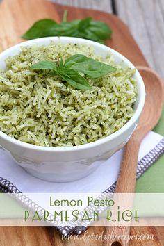 Lemon Pesto Parmesan Rice on MyRecipeMagic.com
