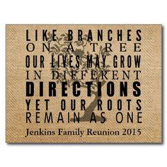 Burlap Branches Tree Family Reunion Invitation Postcards