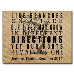 Burlap Branches Tree Family Reunion Invitation Postcards