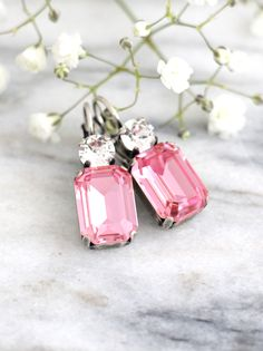 Pink Earrings, Pink Drop Earrings, Pink Swarovski Bridal Earrings, Bridesmaids Earrings, Gift For her, Octagon Dangle Light Pink Earrings  Dazzling Crystal earrings features Octagon cut crystal set on a secure prong settings. Petite Delights is an Official SWAROVSKI® Branding Partner Our brand is legally licensed & authorized By Swarovski Company for high quality manufacturing.  Matching Bracelet available for custom orders. Details : ♥ Materials- Silver or Gold Plated Over Brass, CRYSTAL...