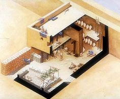 ANCIENT HOUSES,HOUSING,TENTS:BIBLE ARCHITECTURE: Model of a four-roomed house excavated near modern Amman