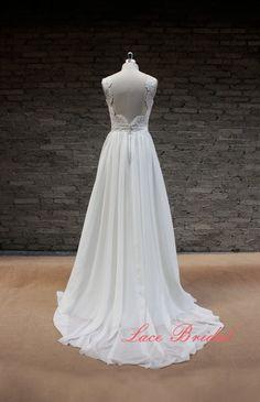 Sweetheart Wedding Gown, Outside Bridal Gown, Chiffon Wedding Dress, A-line Wedding Dress on Etsy, $190.00