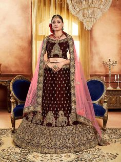Buy online blue and pink silk, net and georgette designer partywear saree. This designer partywear saree is prettified with attractive patterns of embroidered, patch border and crystal which gives gleaming look. Lehenga Choli Designs, Bridal Lehenga Choli, Net Lehenga, Wedding Sarees, Lehenga Style, Pink Lehenga, Lehenga Blouse, Anarkali Dress, Anarkali Suits