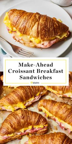Croissant Breakfast Sandwich # breakfast and brunch recipe: make-ahead croissant . - Croissant breakfast sandwich # breakfast and brunch Recipe: Make-Ahead Croissant Breakfast Sandwich - Croissant Breakfast Sandwich, Breakfast Sandwich Recipes, Breakfast Dishes, Breakfast Time, Healthy Breakfast Recipes, Quick Breakfast Ideas, Croissant Recipe, Meal Prep Breakfast, Healthy Food