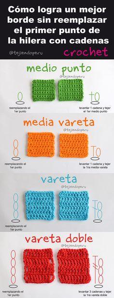 Crochet: cómo lograr un borde más recto sin reemplazar el primer punto de la hilera por cadenas! Video paso a paso :)