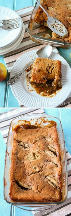 Caramel Apple Pudding Recipe by Sweet2EatBaking.com | #toffee #caramel #apple…