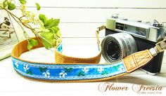 blue pure flower camera strap