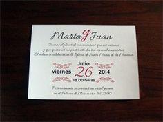 Nuestra invitación vintage Divina, así queda impresa en papel verjurado blanco.