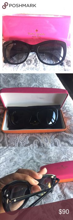 Sunglasses Late spade sunglasses. It has a minimal scratch on right corner ( just notice as I'm taking pictures) and then on the case. They are a little of cat eye style imo. Thank you 😎 kate spade Accessories Glasses