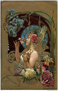 Art Nouveau Print. Looks like Alphonse Mucha