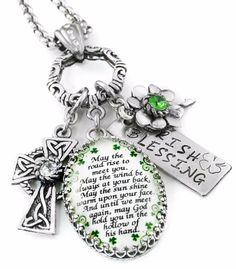 What better want to celebrate being Irish all year long than to wear a Irish Blessing necklace. This beautiful necklace includes a Irish blessing quote, Celtic knot cross with swarovski crystal, luck Irish Eyes Are Smiling, Irish Culture, Irish Celtic, Celtic Knot, Irish Pride, Irish Quotes, Irish Girls, Irish Jewelry, Irish Blessing