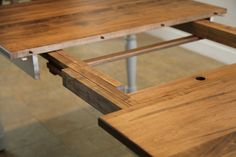 """This table also features an extendable top, with 12"""" leaves that seamlessly slide into place for extra seats around the table. #peacefulvalleyfurniture #handcrafted"""