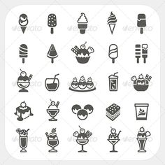 Ice Cream Icons Set - Food Objects