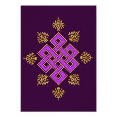 Buddhist Mystical Endless Knot with Lotuses Personalized Announcement