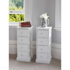 Pair of Tall White Wooden Four Drawer Cabinets Bedside Tables Tallboy Unit Stora Slim Bedside Table, White Bedside Cabinets, Tall White Dresser, Bedside Drawers, Diy Nightstand, Tall Nightstands, Drawer Table, Wooden Cabinets, Cabinet Drawers