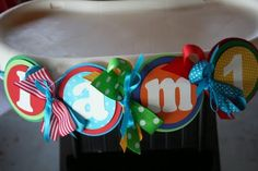 I love this High Chair Banner for baby's birthday! Birthday Highchair, Baby 1st Birthday, Birthday Bash, First Birthday Parties, First Birthdays, Birthday Ideas, Alphabet Birthday, Sock Monkey Party, Party World
