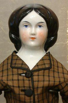 "RARE 17"" ""Duchess Clara"" Antique China Doll With Loose Braids-All Original Silk…"