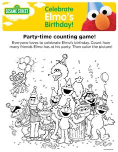 Sesame Street Birthday Invitations with Photo Luxury Elmo S Birthday Party Time Counting Game Be Cute to Print Elmo Coloring Pages, Creation Coloring Pages, Family Coloring Pages, Birthday Coloring Pages, Pokemon Coloring Pages, Coloring Pages For Girls, Coloring Pages To Print, Elmo Birthday, Girl Birthday
