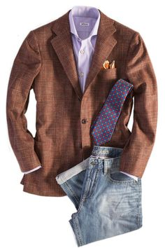 The Tintoretto is made on Kiton's 'Lasa' model, one of our favorite jacket styles of theirs. It features cashmere fabric in a brown and light red Glen Urqu Mens Fashion Wear, Blazer Fashion, Punk Fashion, Lolita Fashion, Fashion Boots, Sharp Dressed Man, Well Dressed Men, Blazer Outfits Men, Rock Outfits