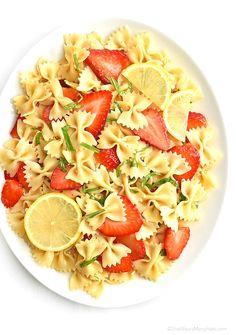 Strawberry Lemon Basil Pasta Salad Recipe | http://shewearsmanyhats.com/strawberry-lemon-basil-pasta-salad-recipe/