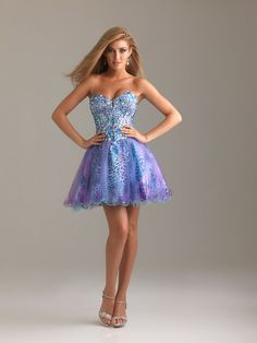 2014 Blue Purple Corset Back Leopard Beaded Short Prom Dress.jpg (678×904)