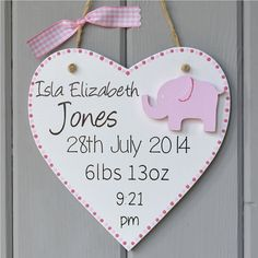 Personalised new baby plaque. Personalised baby girl gift and Keepsake, elephant decoration