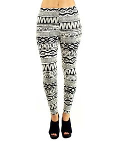 Love this Black & White Abstract Leggings on #zulily! #zulilyfinds