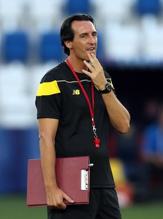 Sevilla FC coach Unai Emery looks on during a training session ahead of the UEFA Super Cup match between Barcelona and Sevilla FC at Dinamo Stadium on August 10, 2015 in Tbilisi, Georgia.
