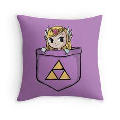 Legend Of Zelda - Pocket Zelda Throw Pillows