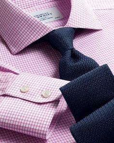 Slim fit cutaway collar non-iron dobby check pink shirt