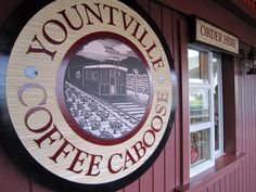 Yountville Coffee Caboose- Coffee, Tea, Pastries, and More! An easy place to stop for a drink. It IS a caboose. Service is through a window.