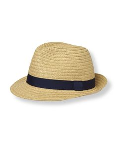Classic grosgrain ribbon band decorates our woven straw fedora.
