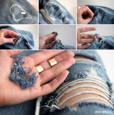 Jeans Makeovers - DIY Ripped Jeans - Easy Crafts and Tutorials to Refashion Your Jeans and Create Ripped, Distressed, Bleach, Lace Edge, Cut Off, Skinny, Shorts, and Painted Jeans Ideas http://diyprojectsforteens.com/diy-jeans-makeovers