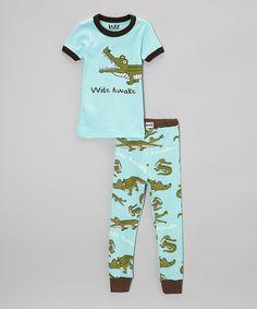 Look at this #zulilyfind! Aqua 'Wide Awake' Pajama Set - Toddler & Boys by Lazy One #zulilyfinds
