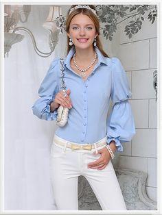 Morpheus Boutique  - Blue Button Down Long Sleeve Celebrity Shirt, $79.99 (http://www.morpheusboutique.com/blue-button-down-long-sleeve-celebrity-shirt/)