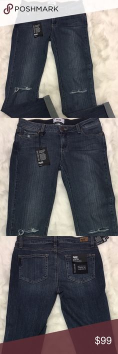 Paige Skyline Crop - Alby Destructed size 29 New with tags, Relaxed boyfriend style jeans but don't stretch through the day. Super cute! Paige Jeans Jeans Boyfriend